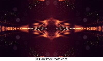 doré, 13, fait boucle, science, résumé, arrière-plans, fiction, particules, arrière-plan., profondeur, field., 4k, lumineux, structures, point, rouges