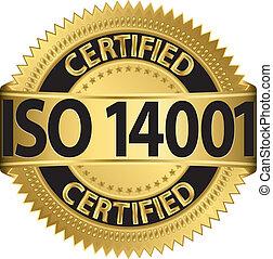 doré, 14001, étiquette, v, iso, certifié
