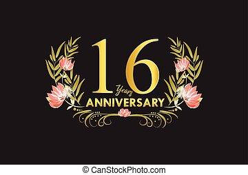 doré, 16, couronne, anniversaire, années, aquarelle, vecteur