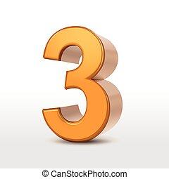 doré, 3, nombre, 3d