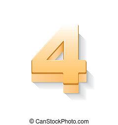 doré, 3d, brillant, 4, nombre