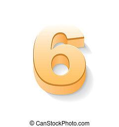 doré, 3d, brillant, numéro 6