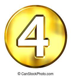 doré, 3d, numéro 4, encadré