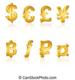 doré, 3d, symboles monétaires