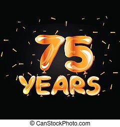 doré, 75, années, célébration anniversaire