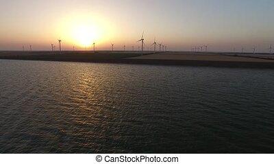 doré, aérien, turbines, bioenergy, enquête, fond, alternative, vent, sunset.
