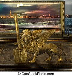 doré, alternative, la terre, lion