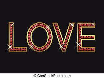 doré, amour, luxe, texte