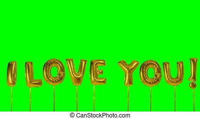 doré, amour, mot, écran, flotter, vert, lettres, vous, ballon hélium