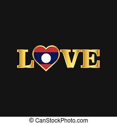 doré, amour, typographie, drapeau laos, conception, vecteur