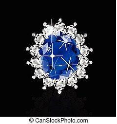 doré, anneau, rubis, diamants