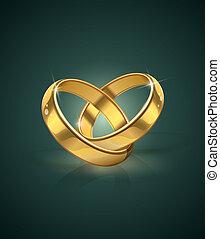 doré, anneaux, mariage
