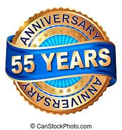 doré, anniversaire, 55, ribbon., étiquette, années