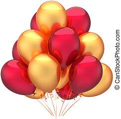 doré, anniversaire, ballons, rouges, heureux