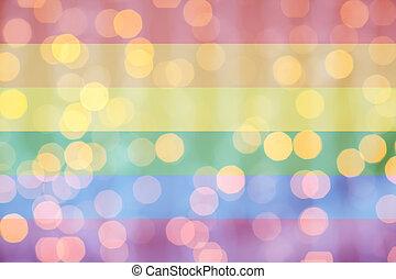 doré, arc-en-ciel, sur, brouillé, lumières, drapeau, fond