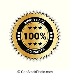 doré, argent, cent, dos, isolé, cachet, 100, médaille, garantie