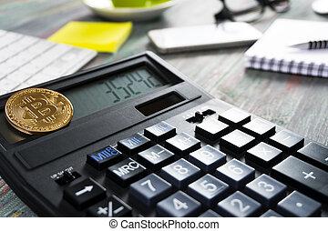 doré, argent, dollar, bitcoin, virtuel, fond, nouveau, monnaie