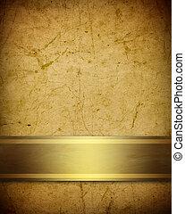 doré, arrière-plan brun, doux, parchemin, ruban