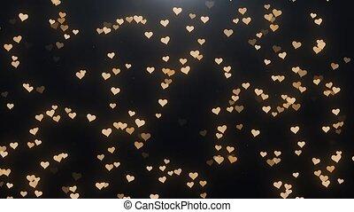 doré, arrière-plan noir, cœurs