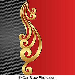 doré, arrière-plan noir, ornement, rouges