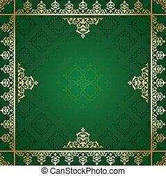doré, arrière-plan vert