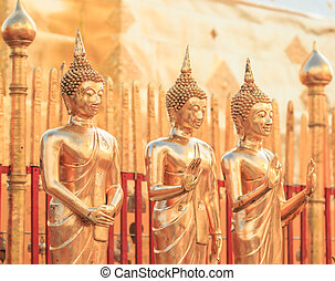 doré, asie, chiang, bouddha, mai, thaïlande, temple