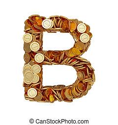 doré, b, lettre, alphabet, pièces, isolé, fond, blanc