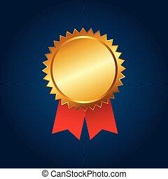 doré, badge., étoile, six, illustration, vecteur, gabarit, vide