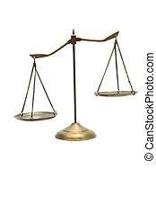 doré, balances, justice, déséquilibre, blanc, laiton