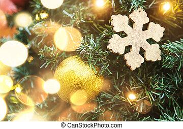 doré, balle, arbre, flocon de neige, garlands., noël