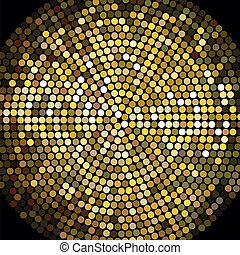doré, balle, mosaïque, fond, disco