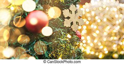 doré, balles, arbre, flocon de neige, guirlandes, noël, rouges