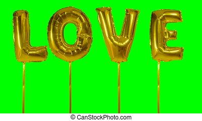 doré, ballon mot, vert, lettres, amour, flotter, hélium, écran