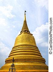 doré, bangkok, monter, , saket, thaïlande, wat, temple