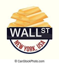 doré, barre, richesse, wall street, york, nouveau