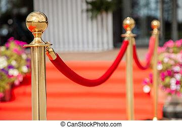 doré, barrière, corde, événement, moquette rouge