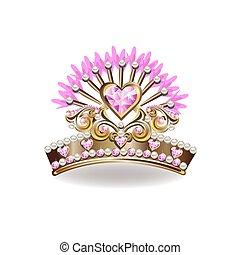 doré, beau, couronne, princesse