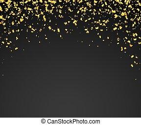 doré, beaucoup, résumé, minuscule, pieces., fond, confetti, tomber