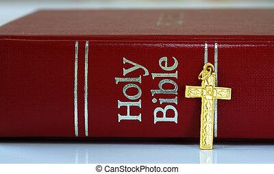 doré, bible, croix, rouges, suivant