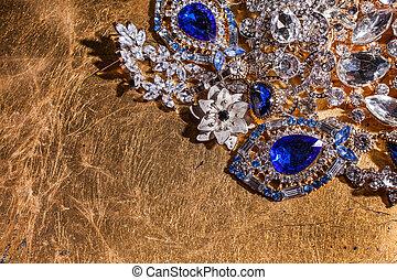 doré, bijouterie, haut, luxe, fond, fin, précieux