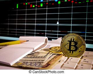 doré, billet banque, grap, bitcoin, crypto, monnaie, fond, conceptuel, marché, stockage