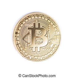 doré, bitcoin, isolé