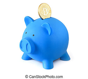 doré, bitcoin, isolé, porcin, banque pièce monnaie