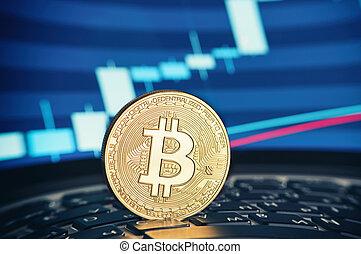 doré, bitcoin, monnaie, sur, les, clavier portable