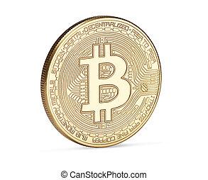 doré, blanc, bitcoin, fond, isolé