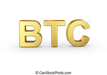 doré, blanc, bitcoin, raccourci, monnaie