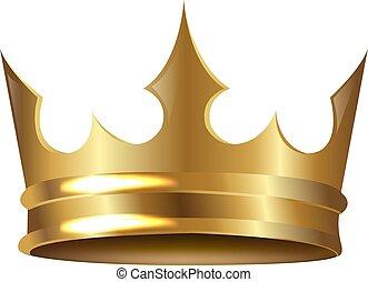 doré, blanc, couronne, isolé, fond