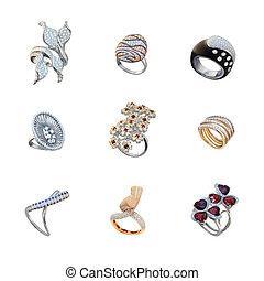 doré, blanc, ensemble, anneaux, diamants