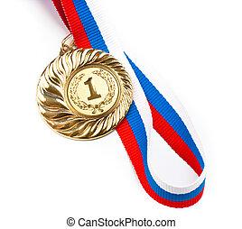 doré, blanc, médaille, isolé