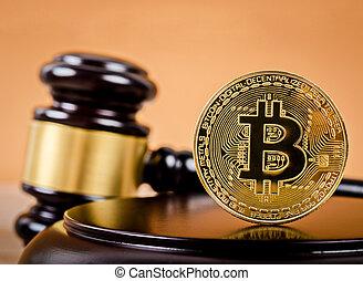 doré, bois, bitcoin, juge, piédestal, gavel.